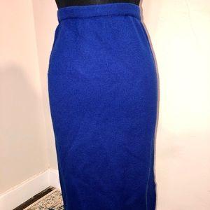 Vintage Italian Cobalt Blue Sweater Knit Skirt